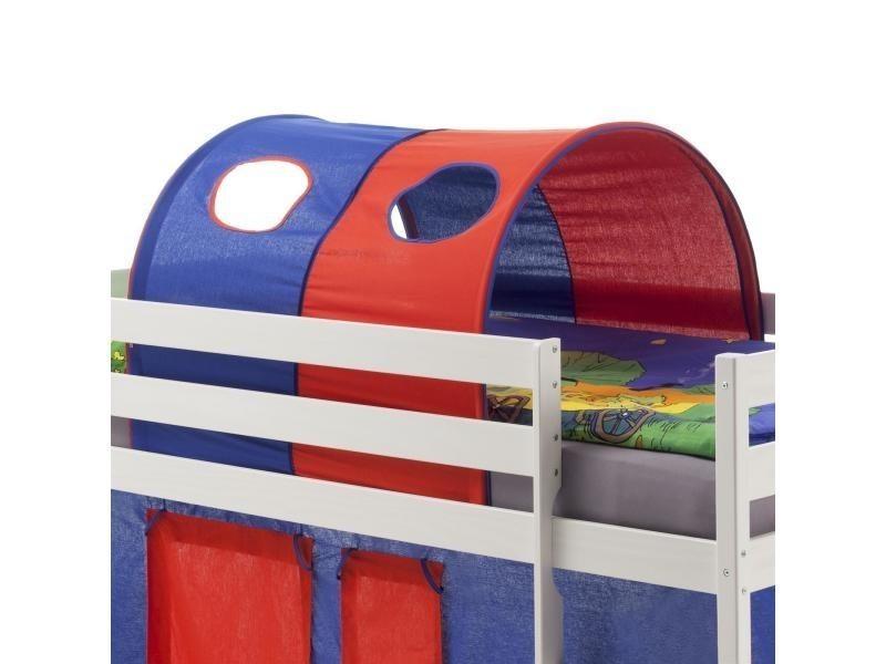 tunnel tente cabane pour lit surlev coton bleu rouge vente de idimex conforama - Tente De Lit