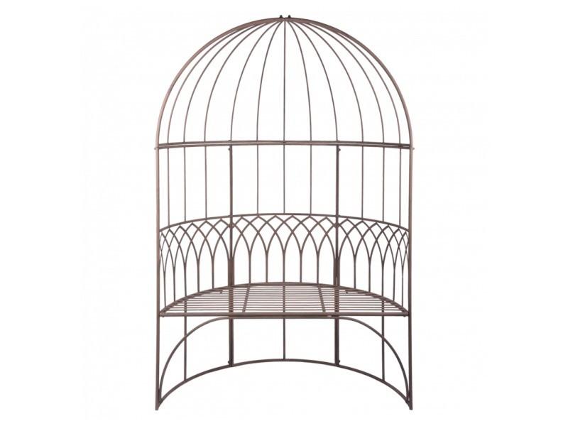 Arche jardin avec banc en métal marron