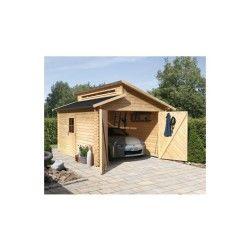 Garage en bois massif 14,62m² toit gradin – madriers 28mm – karibu
