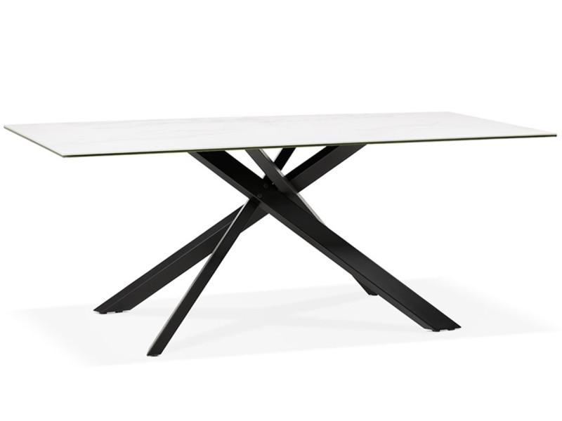 Table A Manger Design En Metal Et Ceramique Imitation Marbre Blanc