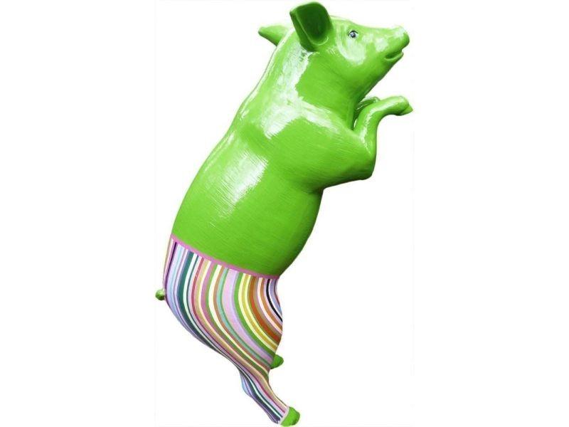 Statue de jardin cochon design avec pantalon coloré en résine