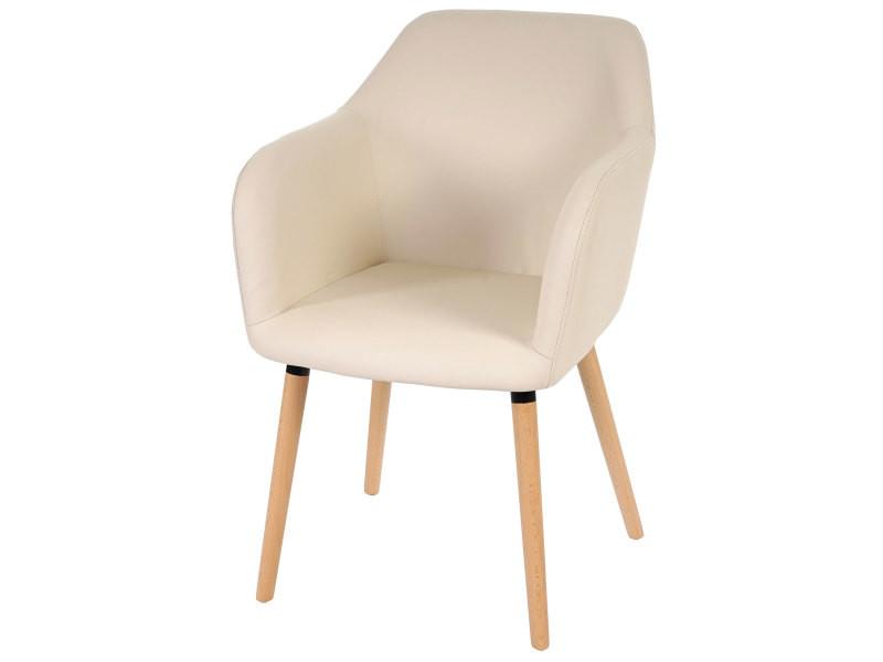 Chaise de séjour / salle à manger malmö t381 / style rétro des années 50 / similicuir, crème