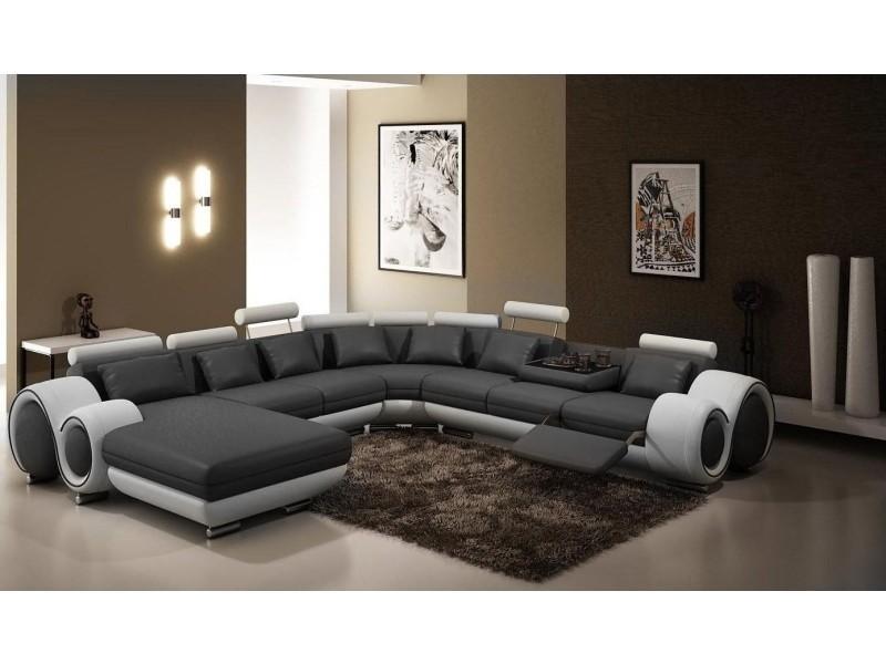 Canapé panoramique cuir gris et blanc oslo (angle gauche)-