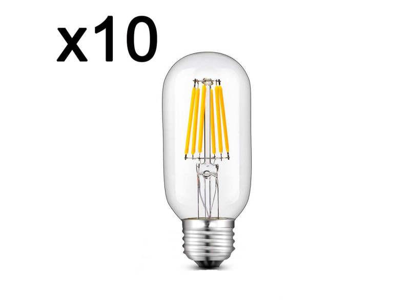 Lot de 10 ampoule filament led e27 blanc chaud sedna e27 t45 6w h12cm