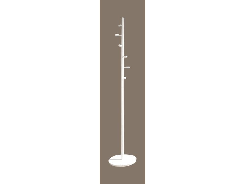Portemanteaux design blanc avec 6 crochets, dim: l37 x p37 x h180 cm -pegane-
