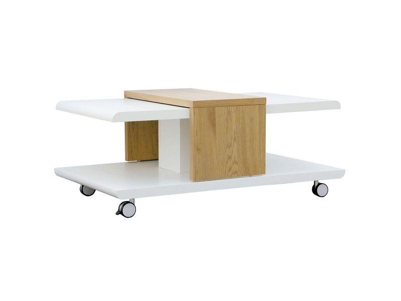 Jodok - table basse blanche et bois