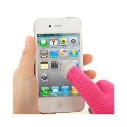 Gants tactiles pour smartphones tablettes rose 3 doigts