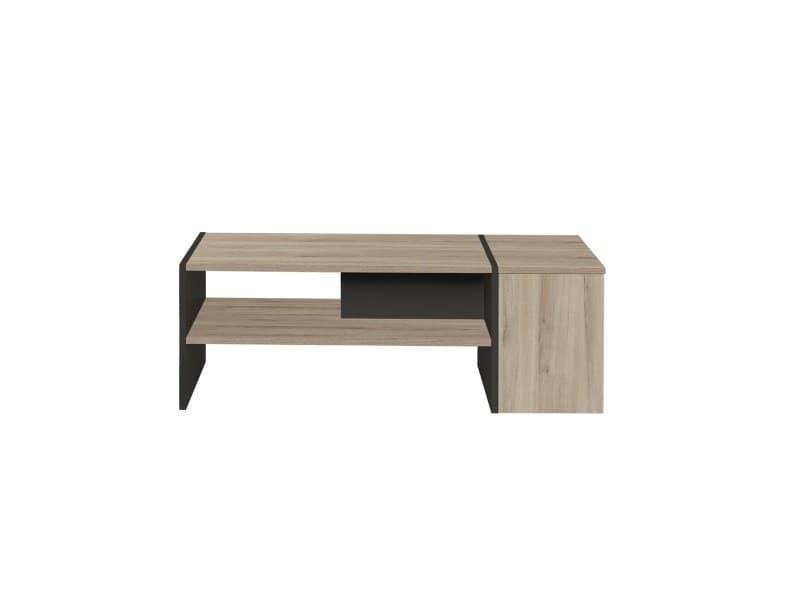 Table basse avec coffre décor chêne et noir