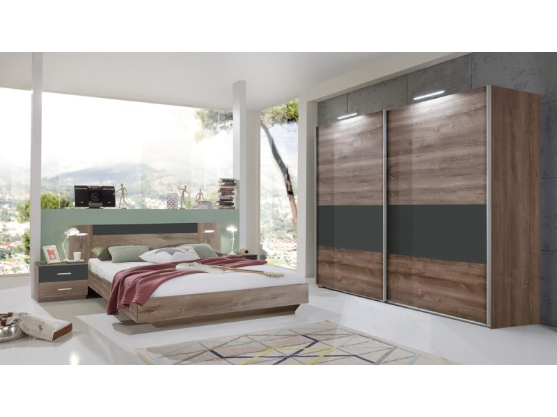 Ensemble chambre adulte lit avec éclairage led- 180 x 200 cm -pegane-