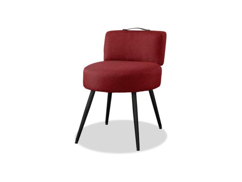 Lilo1 fauteuil pieds métal - tissu rouge- l 44 x p 45 x h 63 cm