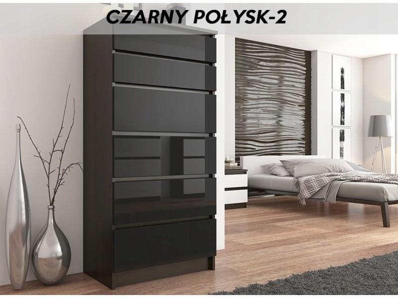 Sofia 2w | commode contemporaine chambre salon bureau | 128x70x40 | dressing 6 tiroirs | meuble de rangement scandinave | wenge/noir laqué