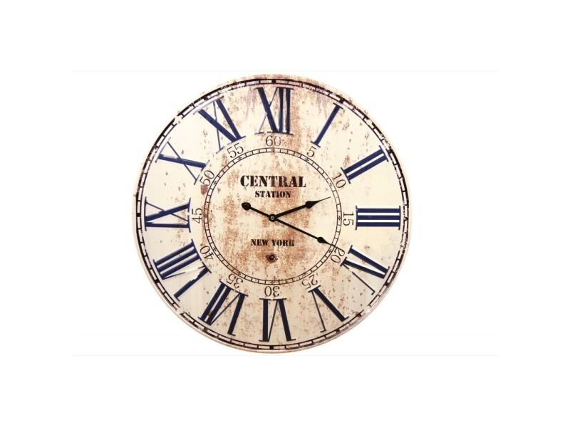 Horloge ancienne metal central station new york 58cm - métal - blanc - décoration d'autrefois