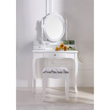magnifique coiffeuse table de maquillage blanc vente de paolo collaner conforama. Black Bedroom Furniture Sets. Home Design Ideas