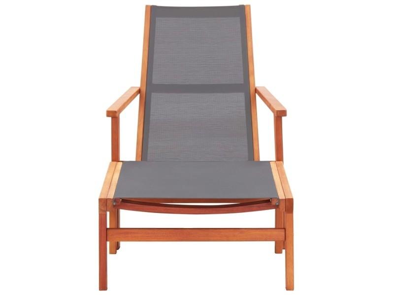 Vidaxl chaise de jardin et repose-pied gris eucalyptus et textilène 48696