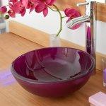 Vasque ronde en verre aubergine rany