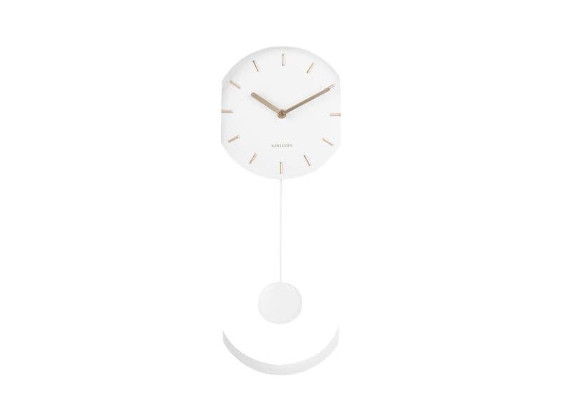 Horloge à balancier design charm - h. 50 cm - blanc