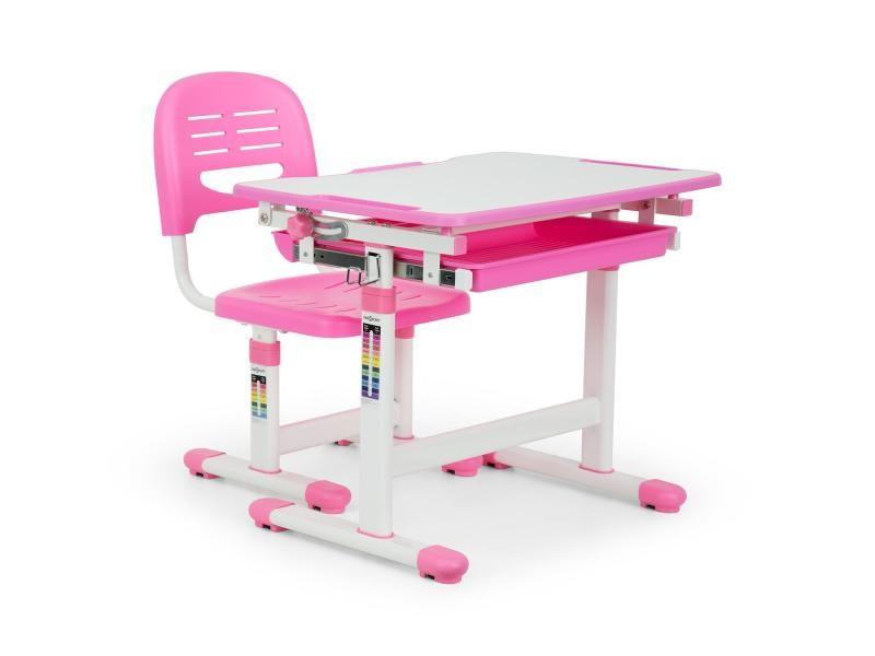 Oneconcept annika set bureau pour enfant table & chaise hauteur réglable - rose