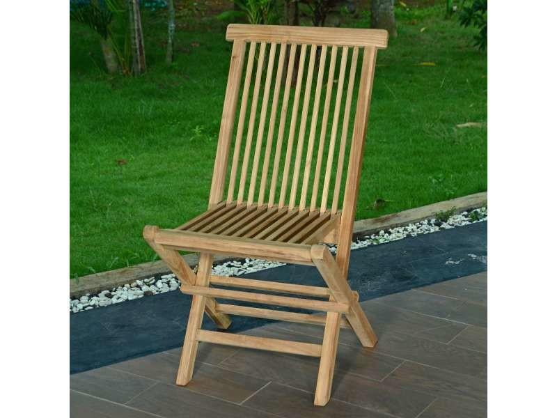Chaises de jardin pliantes en teck java (lot de 2) Teck massif de qualité Ecograde©