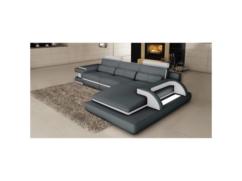 Ranna - canapé d'angle cuir gris et blanc avec lumière intégrée