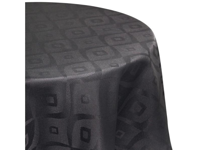 Nappe ronde 180 cm jacquard 100% polyester brunch anthracite