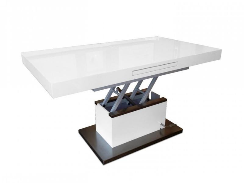 Table basse relevable extensible setup blanc brillant - Table basse relevable extensible conforama ...