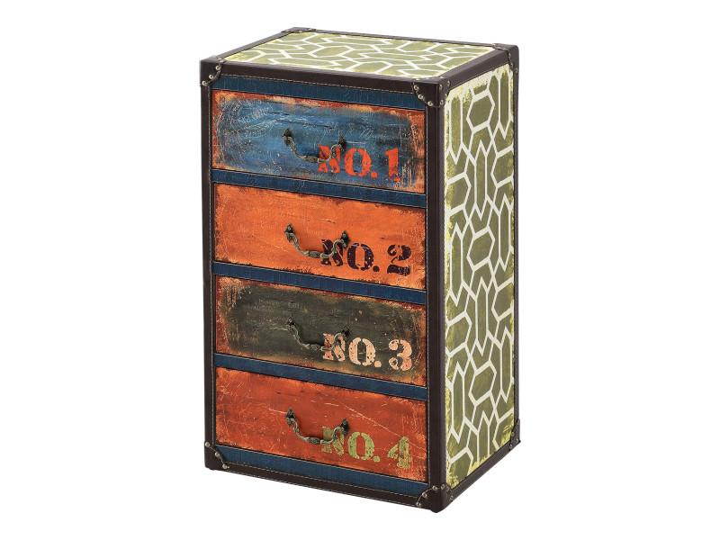 Commode design stylée industriel meuble de rangement moderne pratique avec 4 tiroirs mdf similicuir 66 x 40 x 30 cm multicolore [en.casa]