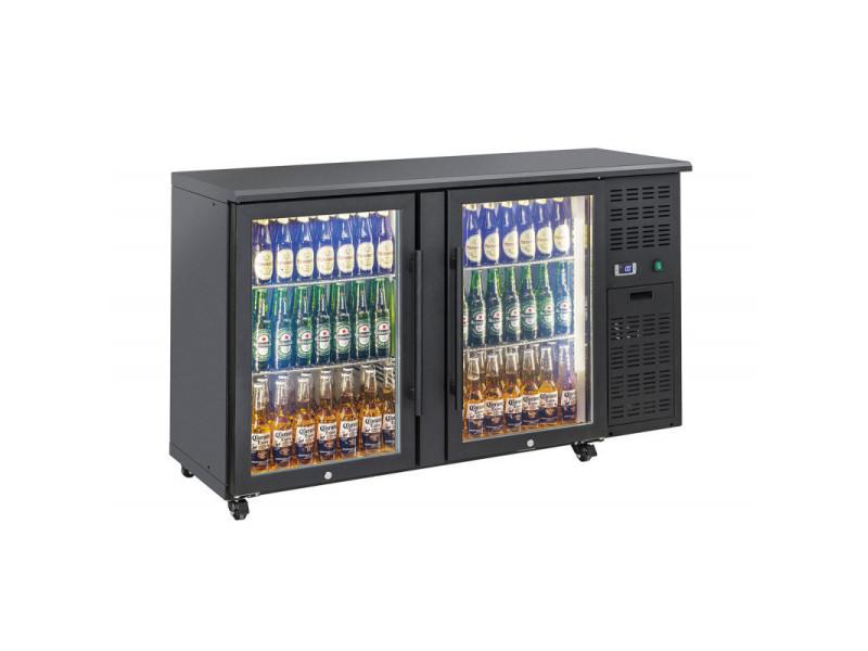 Arrière bar réfrigéré portes vitrées en skinplate anthracite - qbg - r2904 portes350vitrée/battante