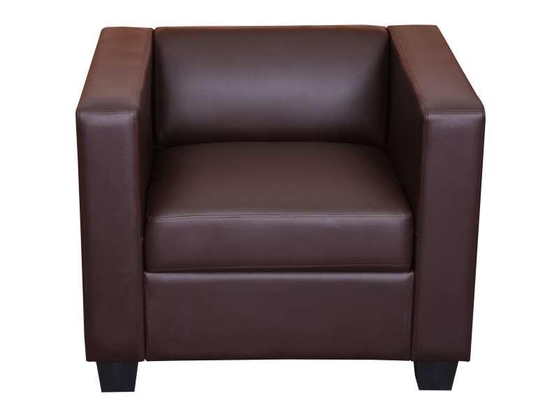 Fauteuil club / lounge lille, 86x75x70cm, simili-cuir, café
