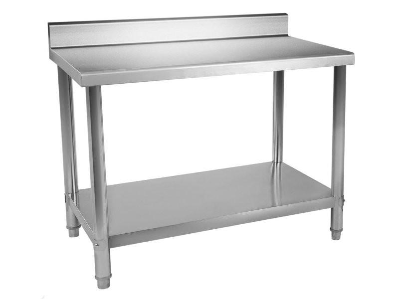 Table de travail professionnelle acier inox pieds ajustable avec rebord 120 x 70 cm helloshop26 3614085