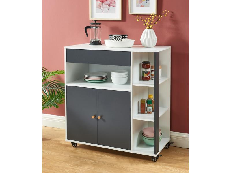 Meuble de rangement cuisine blanc et gris - 80 x 39x 85 cm - Vente de Etagère - Conforama