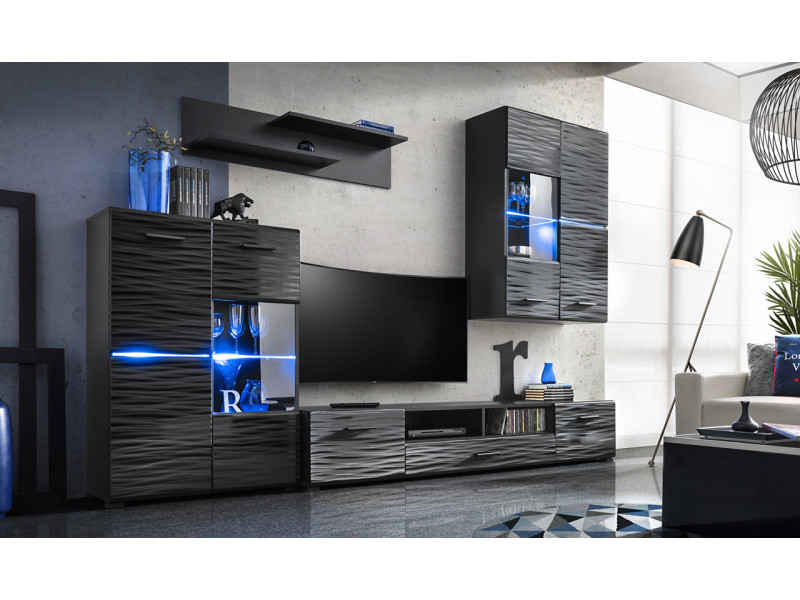 Ensemble meuble tv design led - noir
