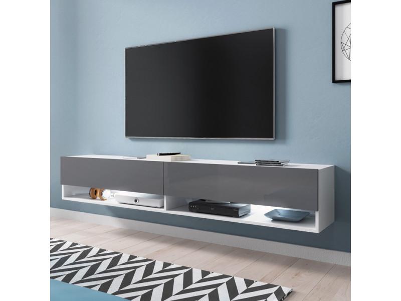 Meuble tv - WANDER - 180 cm - blanc mat / gris brillant - LED
