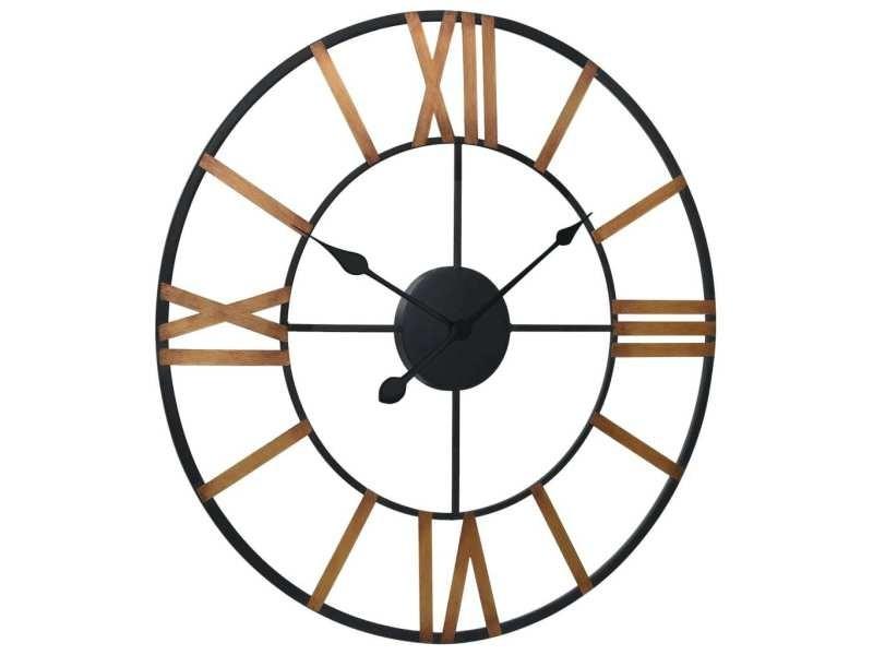 Vidaxl horloge murale doré et noir 80 cm métal 321458