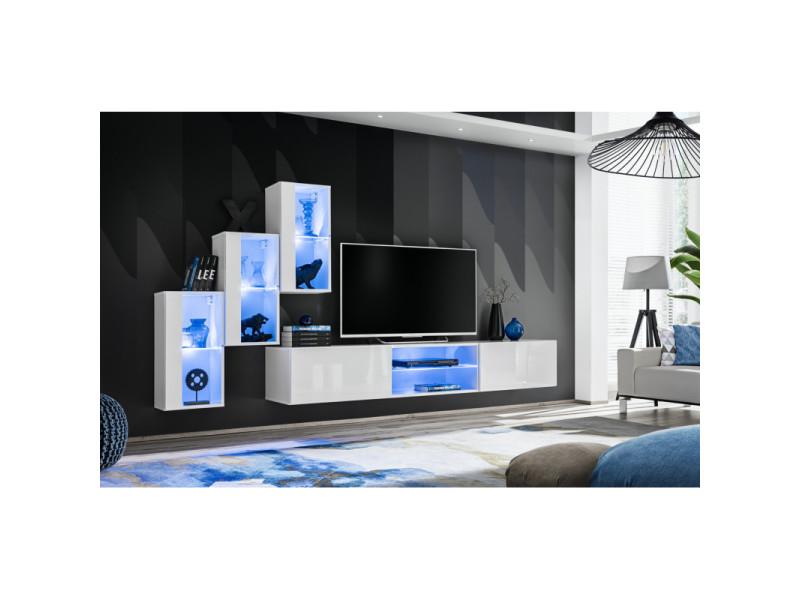 Ensemble meuble tv mural switch xxii - l 240 x p 40 x h 170 cm - blanc