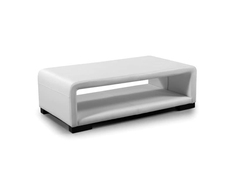 Cubana - table basse design cuir blanc