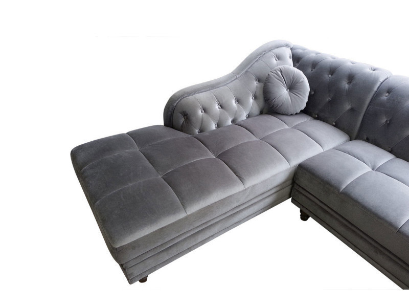 canap d 39 angle gauche chesterfield velours argent conforama. Black Bedroom Furniture Sets. Home Design Ideas