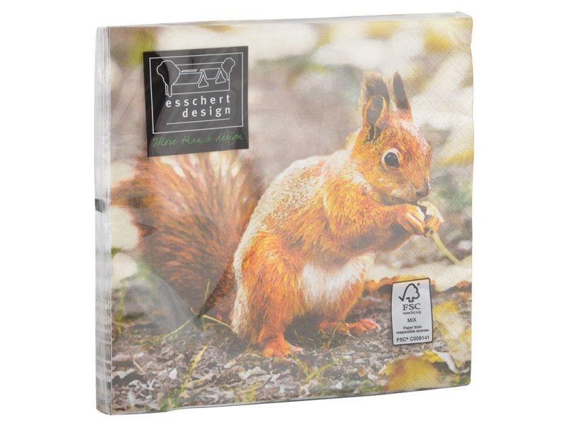 Serviette en papier de soie avec motifs (lot de 20) rouge gorge et écureuil
