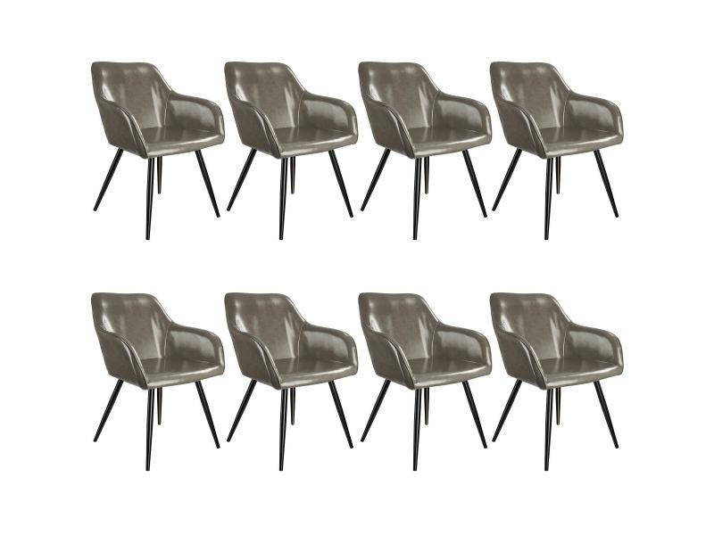 Tectake 8 chaises marilyn en cuir synthétique - gris foncé-noir 404117