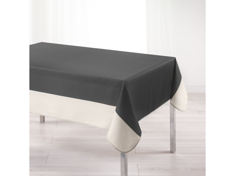 Cdaffaires nappe rectangle 150 x 240 cm polyester bicolore garden anthracite/naturel 1721661-anthracite-naturel