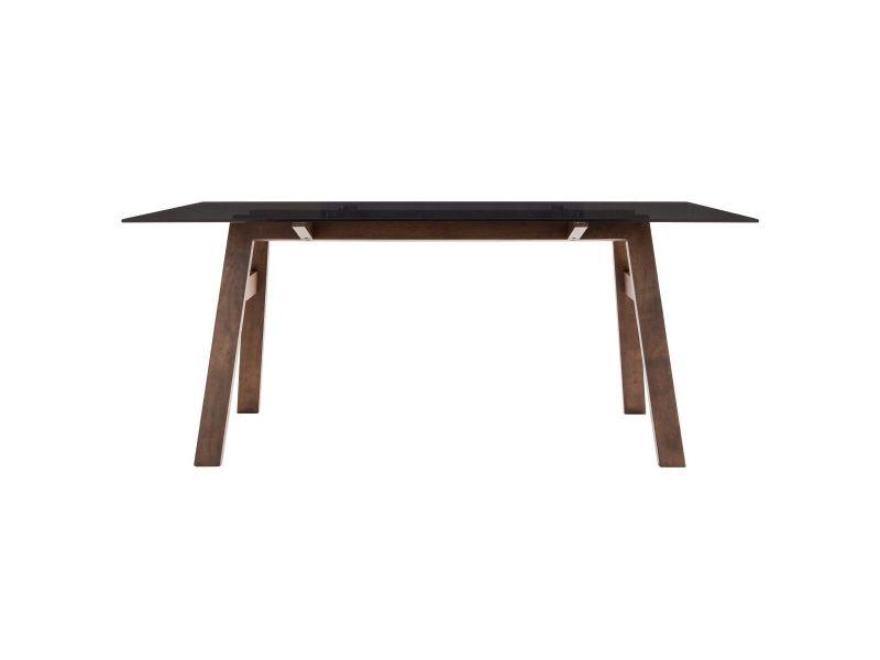 Table à manger design avec plateau en verre fumé noir 180 cm bacco