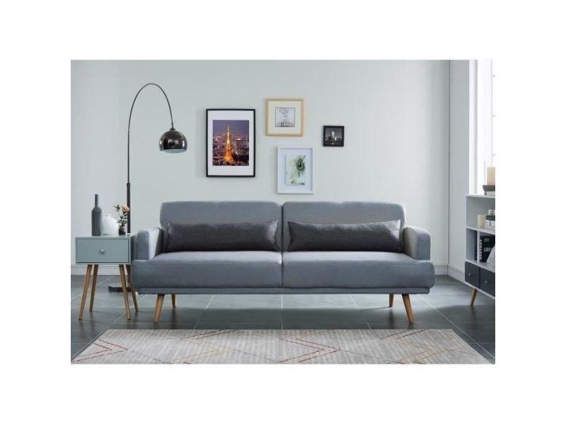 Canape - sofa - divan tom canapé droit convertible 3 places - tissu gris chiné - scandinave - l 214 x p 86 cm