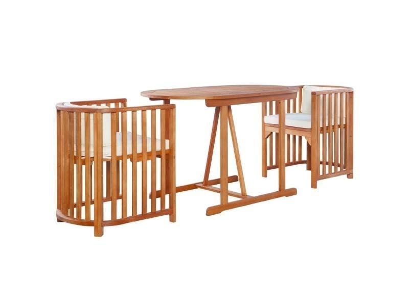 Vidaxl mobilier de jardin 7 pcs bois d\'eucalyptus massif 44397 ...