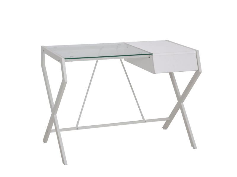 Bureau informatique table ordinateur design contemporain métal panneaux de particules blanc bois de chêne verre