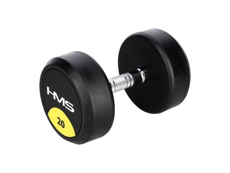 Hmsport - haltères chrome + caoutchouc 20 kg 1 pcs - haltère de main - halterès courts - sport fitness musculation toning - noir