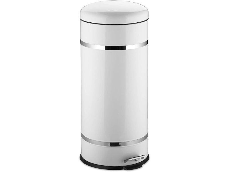 Poubelle à pédale acier inoxydable seau intérieur 30 litres blanc helloshop26 13_0002317_2