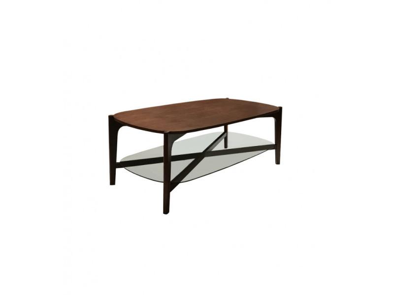 Table basse rectangulaire plateaux verre bois - mala 3307