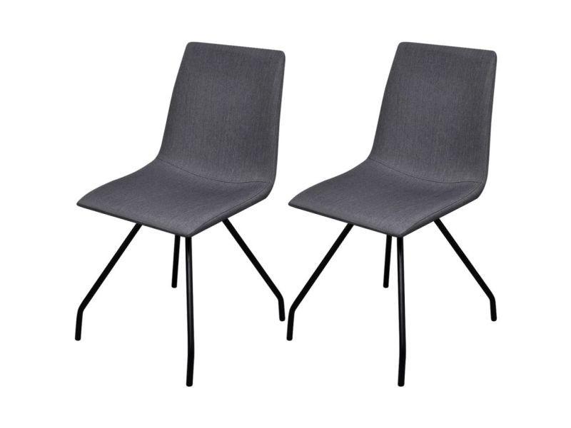 Vidaxl chaise de salle à manger et pieds en fer 2 pcs tissu gris foncé 242309