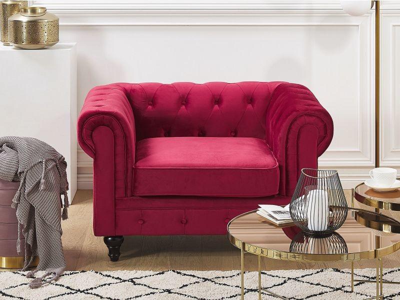 Fauteuil en velours rouge foncé chesterfield 219709
