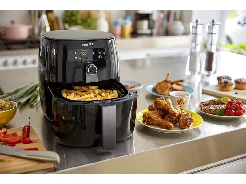 Friteuse électrique airfryer 1500w noir gris