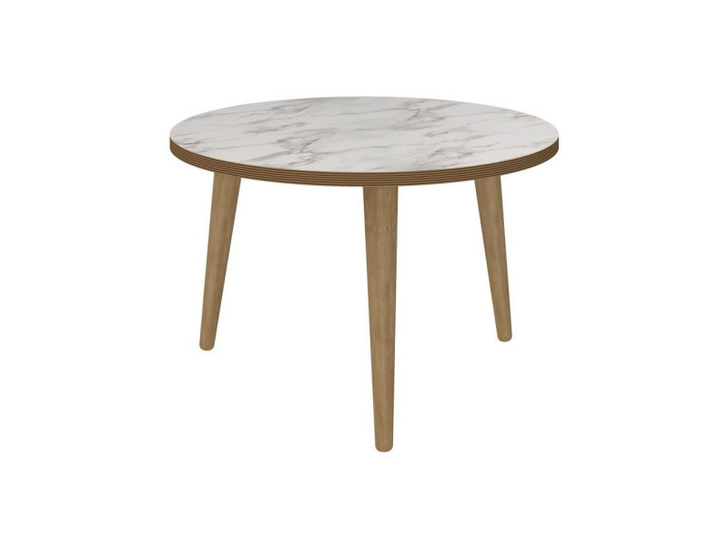 Rock Table Basse Ronde Scandinave Effet Marbre O 60 Cm Conforama
